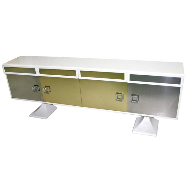 Italian sideboard white bronze chrome