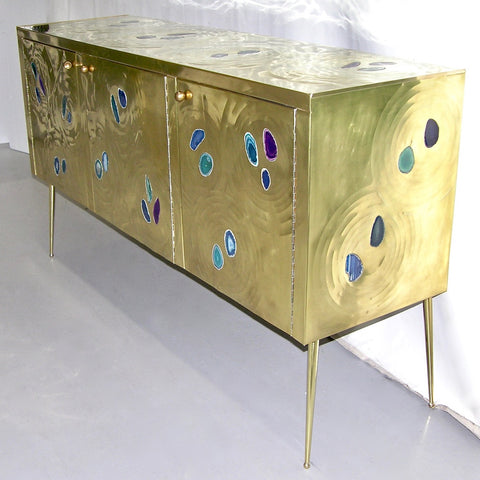 Italian Contemporary Fine Design Brass Cabinet with Blue Green Purple Agate - Cosulich Interiors & Antiques