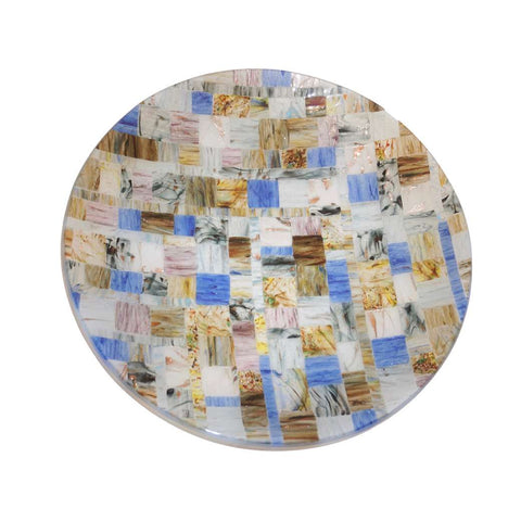 Contemporary Italian Blue Pink Yellow Copper Murano Art Glass Mosaic Centerpiece - Cosulich Interiors & Antiques