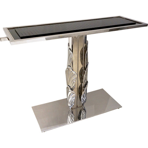 Italian Contemporary Polished Chrome and Black Glass Console with Shell Motif - Cosulich Interiors & Antiques