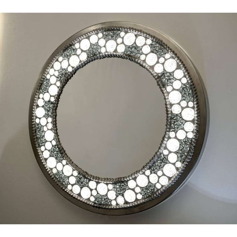 Contemporary Fine Design Italian Lit Black & Clear Rock Crystal Nickel Mirror