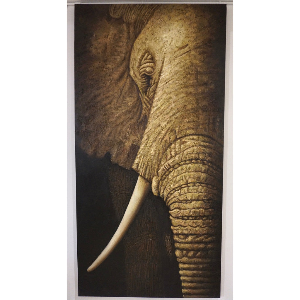 Contemporary Italian Life Size Oil Paintings Panels of Elephant and Zebra