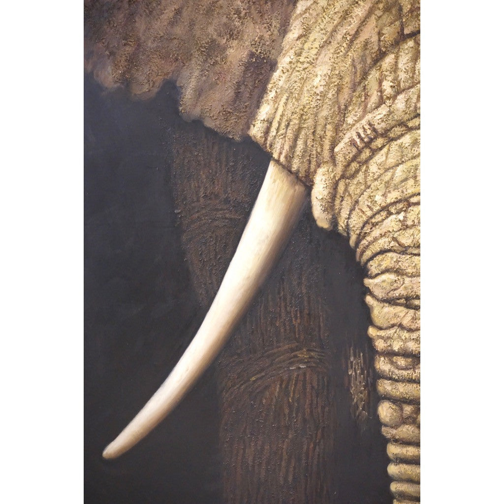 Contemporary Italian Life Size Oil Paintings Panels of Elephant and Zebra - Cosulich Interiors & Antiques