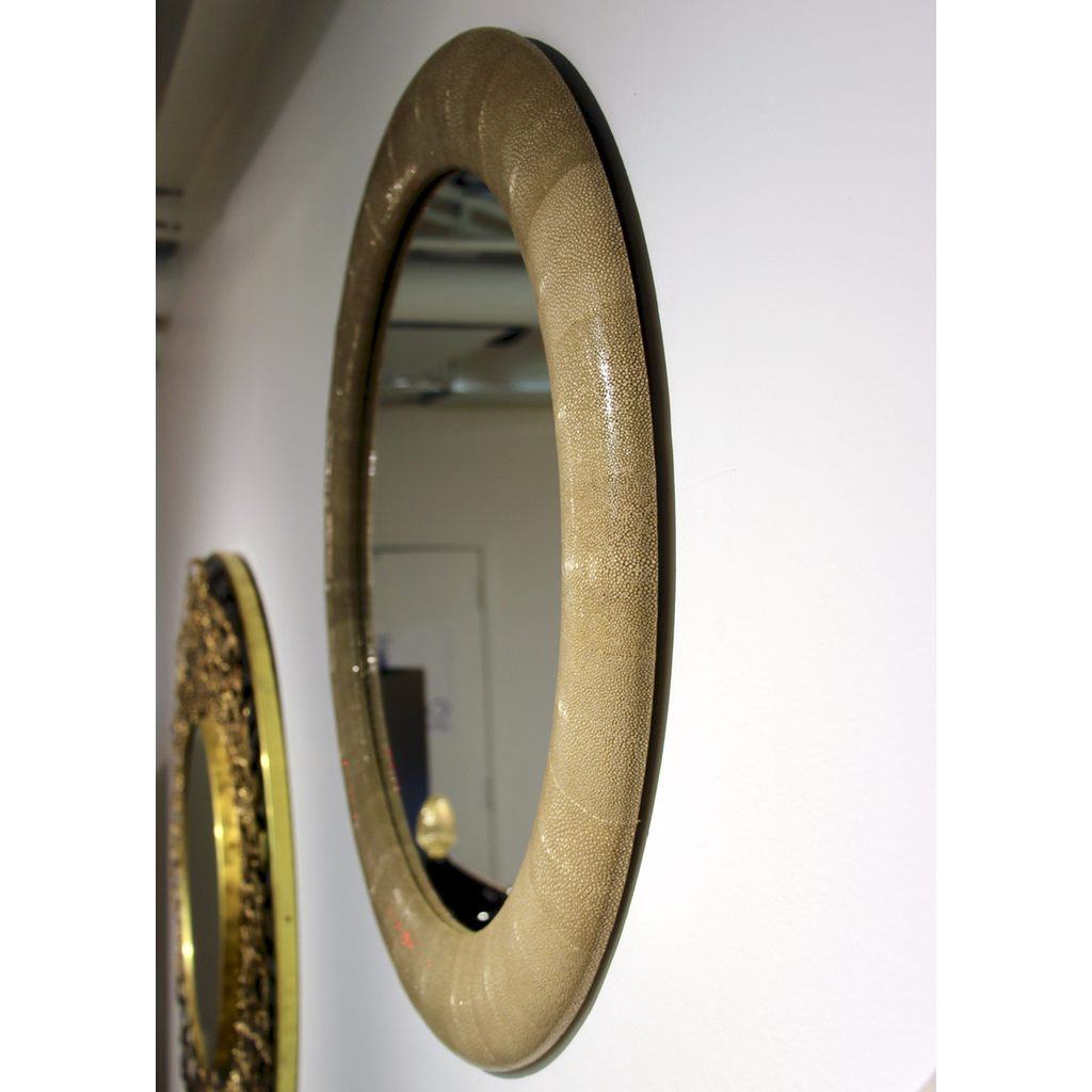 Italian Contemporary Round Mirror in Light Taupe Gray Shagreen - Cosulich Interiors & Antiques