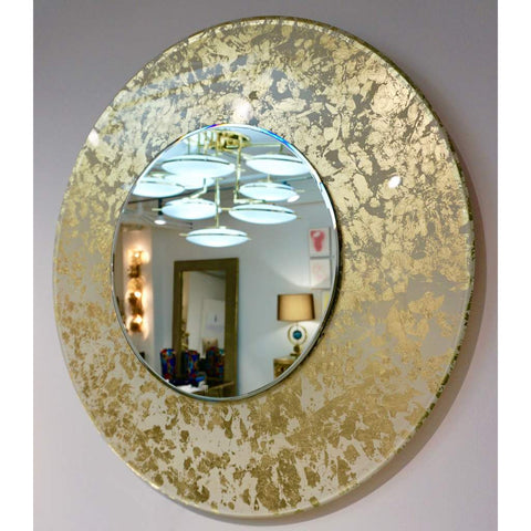 Contemporary Italian Organic Modern Ivory White and Gold Leaf Round Lit Mirror - Cosulich Interiors & Antiques
