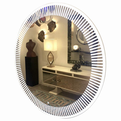 Contemporary Italian Organic Modern Round Lit Mirror with White Sunburst Decor - Cosulich Interiors & Antiques