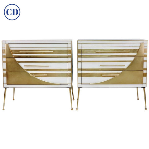 Contemporary Italian Pair of Gold Brass and White Glass Chests / Side Tables