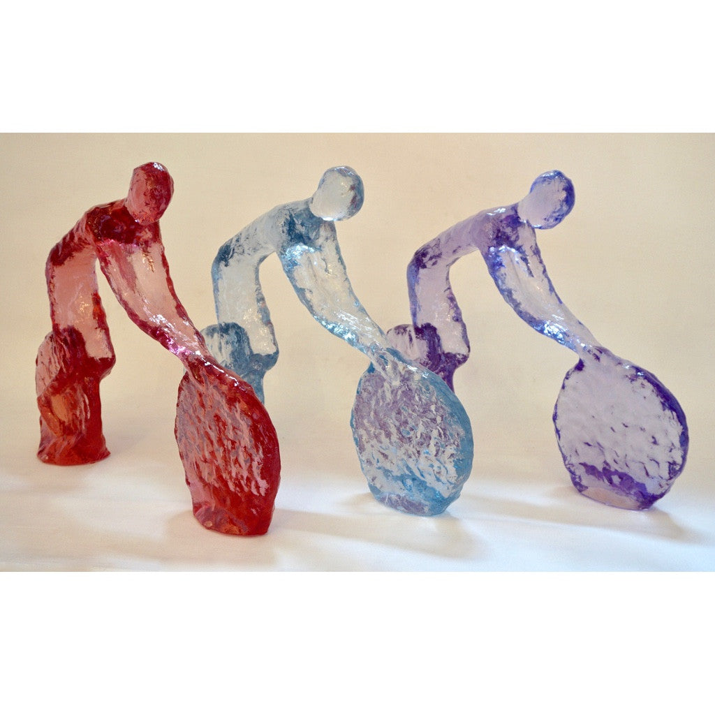 Contemporary Minimalist Purple Sky Blue Cherry Acrylic Sculptures of Cyclists - Cosulich Interiors & Antiques