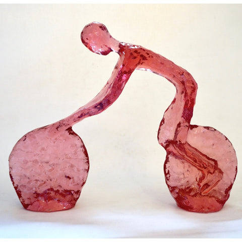 Contemporary Tangerine Red Modern Lucite Sculpture of Minimalist Cyclist