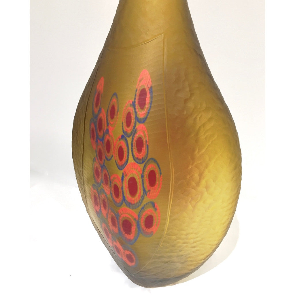 Dona Italian Modern Art Glass Amber Sculpture Vase with Red and Blue Murrine - Cosulich Interiors & Antiques