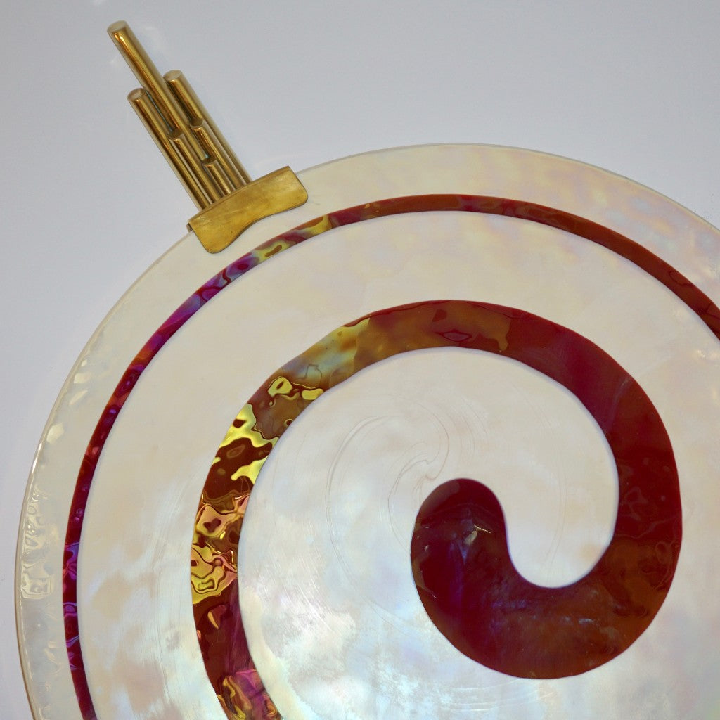 Art Deco Style Monumental Pair of Burgundy Ivory White Murano Glass Wall/Ceiling Lights