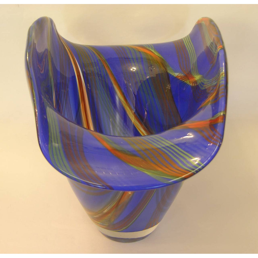 Davide Dona Blown Murano Glass Vase in Blue with Colored Murrine