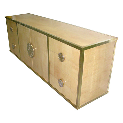Sinopoli 1970s Italian Back Finished Asian Style Brass Bamboo Sideboard/Cabinet - Cosulich Interiors & Antiques