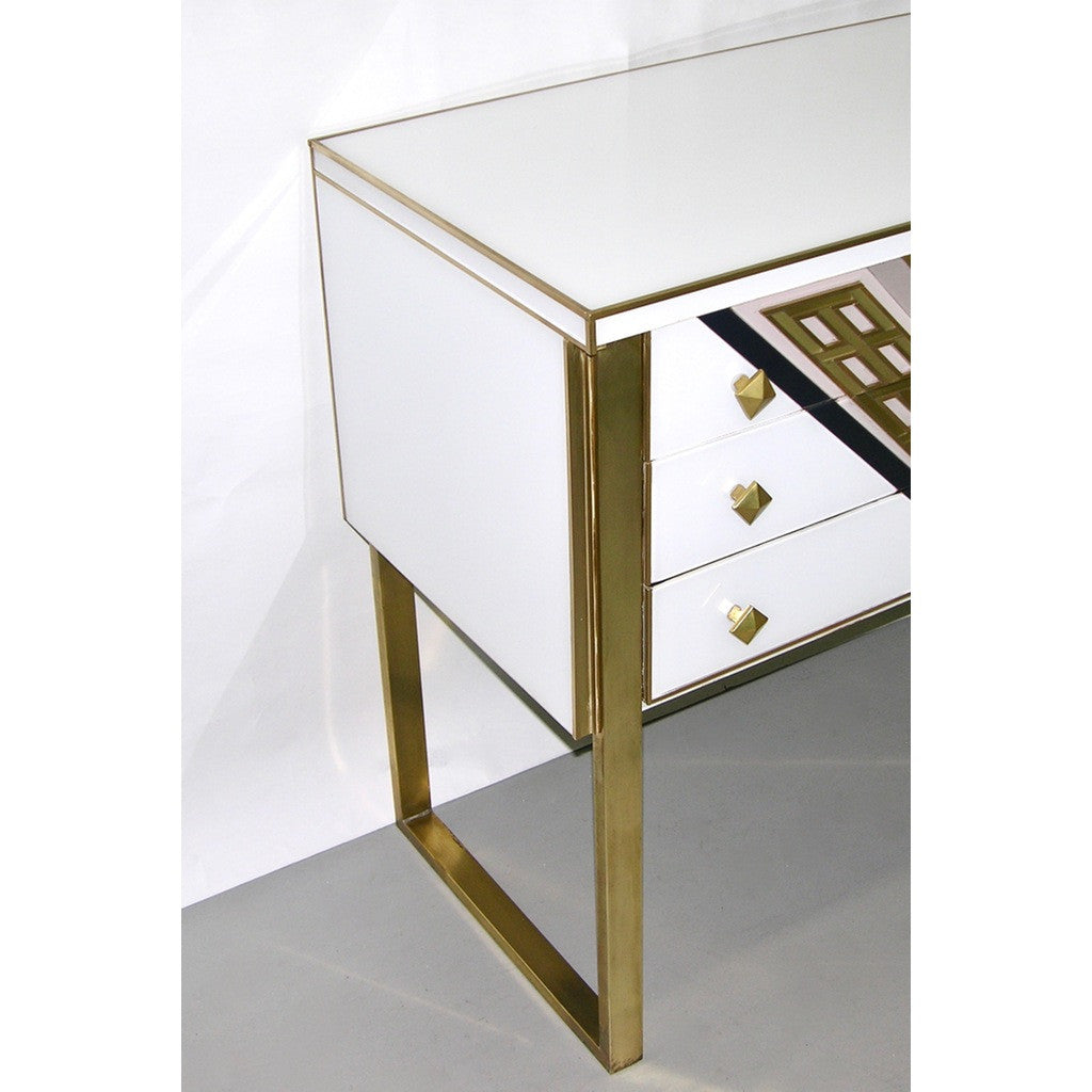 1990s Italian Unique White Black and Gold Chest or Sideboard on Brass Legs - Cosulich Interiors & Antiques