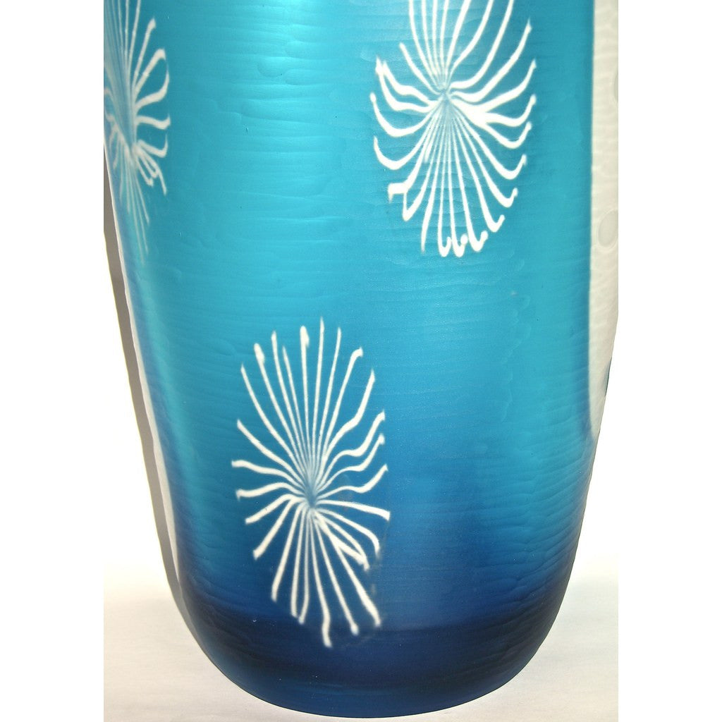 Davide Dona Aqua Blue and White Textured Murano Glass Grand Vase