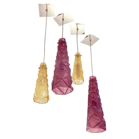 Contemporary Four Italian Diamond-Cut Purple and Yellow Murano Glass Pendants
