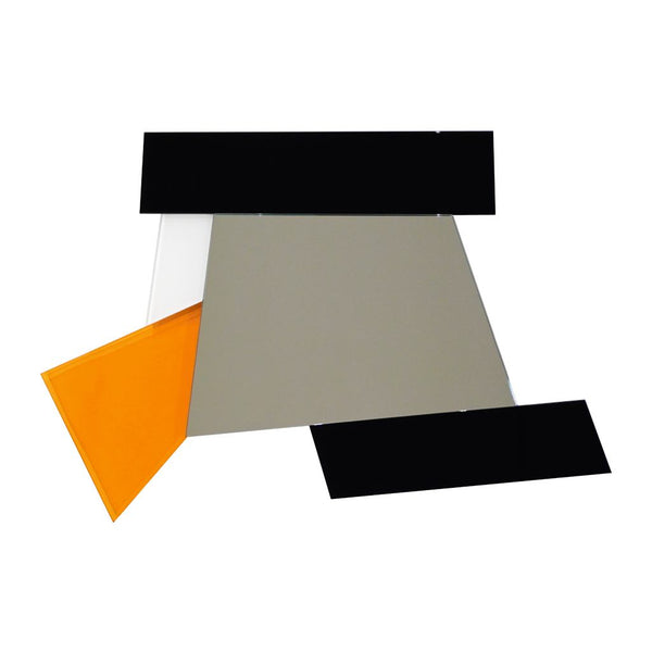 Ettore Sottsass 2007 Geometric Prism Black White Orange Mirror for Glas Italia - Cosulich Interiors & Antiques