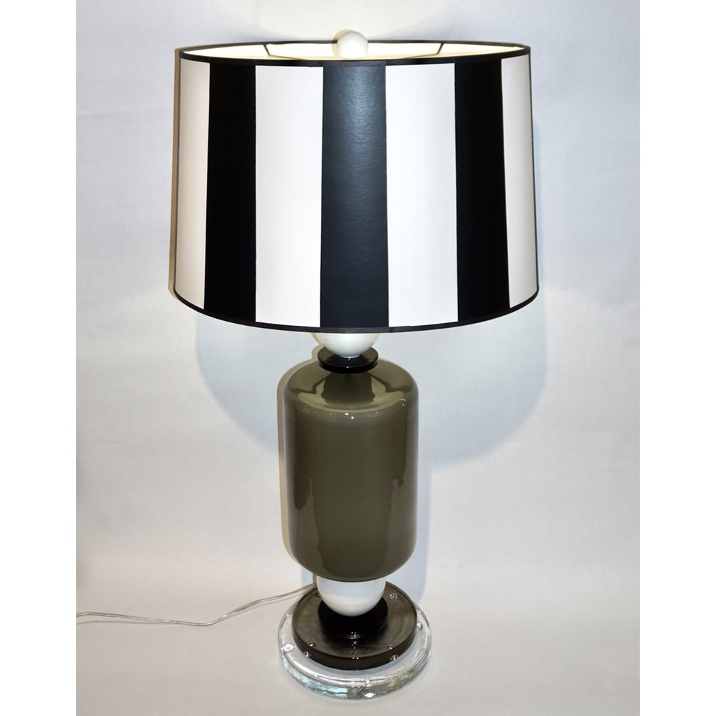 1980s Italian Geometric Pair of White Black and Silver Gray Murano Glass Lamps - Cosulich Interiors & Antiques