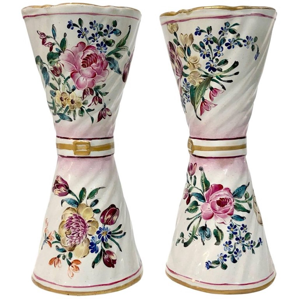 1870s St Clement French Faience Majolica Pair Of Flower Vases