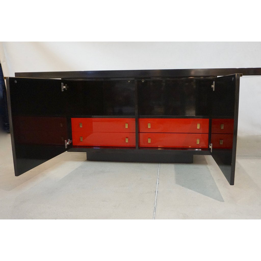 1970 Frigerio Vintage Italian Black & Gold Copper Freestanding Sideboard/Console - Cosulich Interiors & Antiques