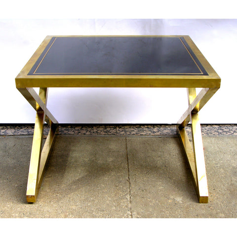 Italian Pair of X-Frame Handcrafted Brass and Glass Coffee/Side Tables