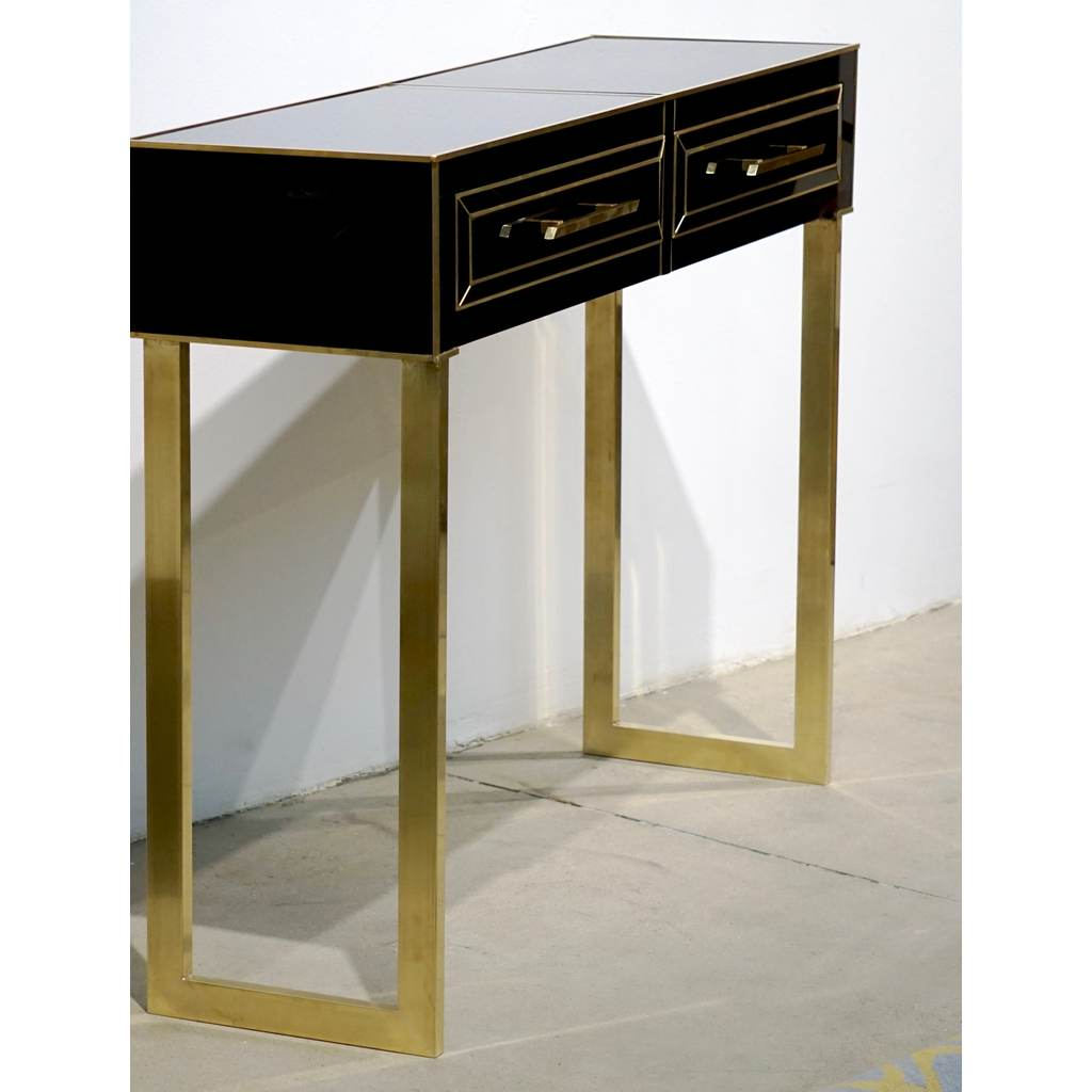 Contemporary Italian Gold Brass and Black Glass Modern Console on Geometric  Legs