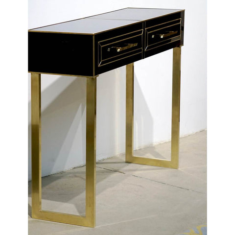 Contemporary Italian Gold Brass and Black Glass Modern Console on Geometric Legs - Cosulich Interiors & Antiques