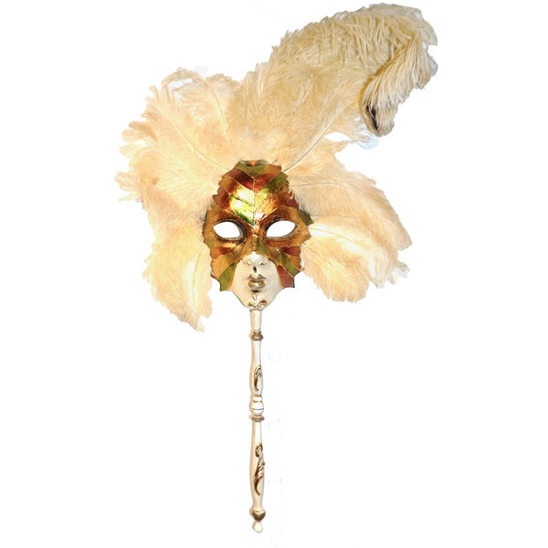 Metallic Green Gold and Orange Venetian Handmade Folk Art Carnival Mask with Feathers