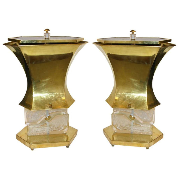 Gucci 1980s Italian Pair of Modern Gold Brass and Glass Lamps - Cosulich Interiors & Antiques