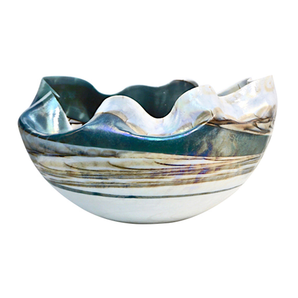 1990s Italian Blue and Mother-of-Pearl White Murano Glass Iridescent Shell Bowl