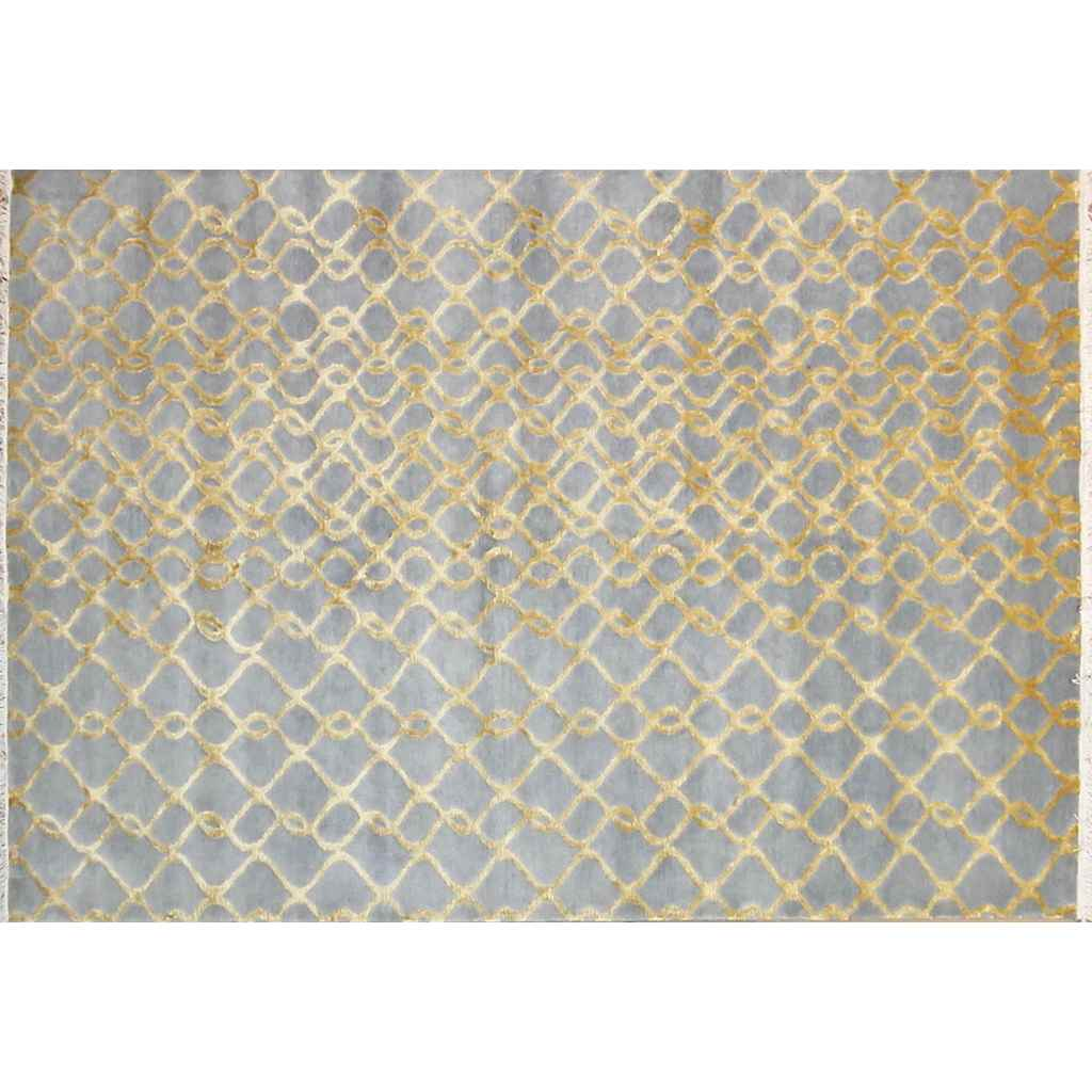 Gold and Silver Blue Gray Modern Indian Rug With Organic Geometric Design