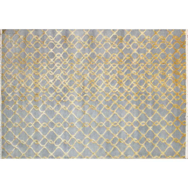 Gold Silver Blue Gray Modern Indian Rug With Organic