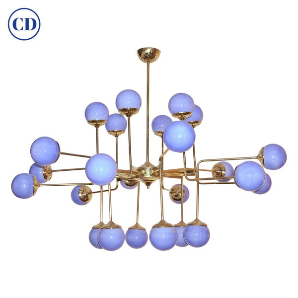 Italian Modern 24-Light Brass and Lavender Periwinkle Murano Glass Chandelier - Cosulich Interiors & Antiques