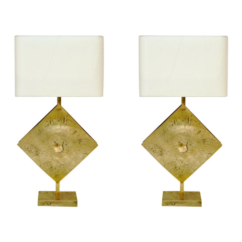 Italian Design Contemporary Pair of Brutalist Cast Bronze Double Lit Lamps - Cosulich Interiors & Antiques