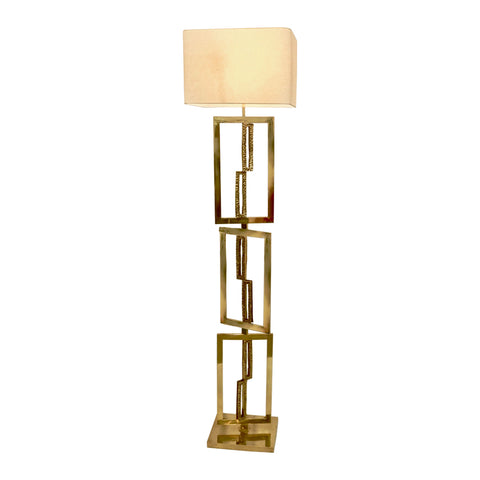 Italian Design Contemporary Cast Bronze and Gold Brass Rectangular Floor Lamp - Cosulich Interiors & Antiques