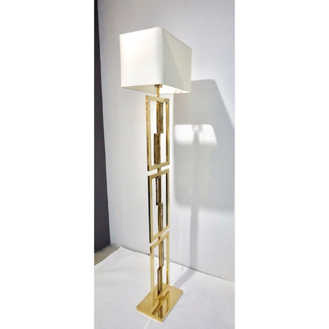 Italian Design Contemporary Cast Bronze and Gold Brass Rectangular Floor Lamp