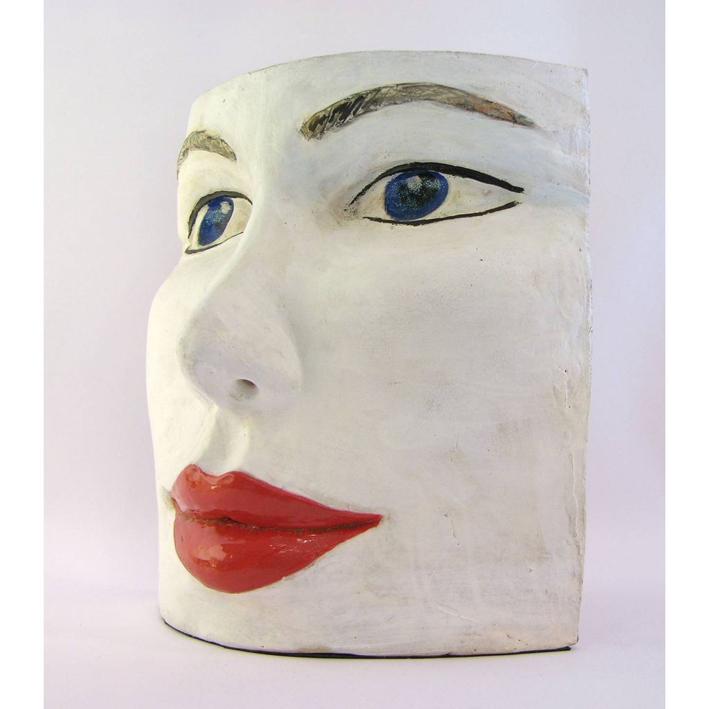 Blue Eyes Face Terra Cotta Sculpture by Ginestroni - Cosulich Interiors & Antiques
