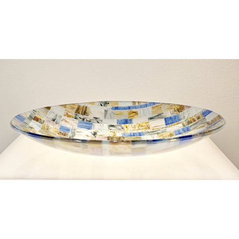 Contemporary Italian Blue Pink Yellow Copper Murano Art Glass Mosaic Centerpiece