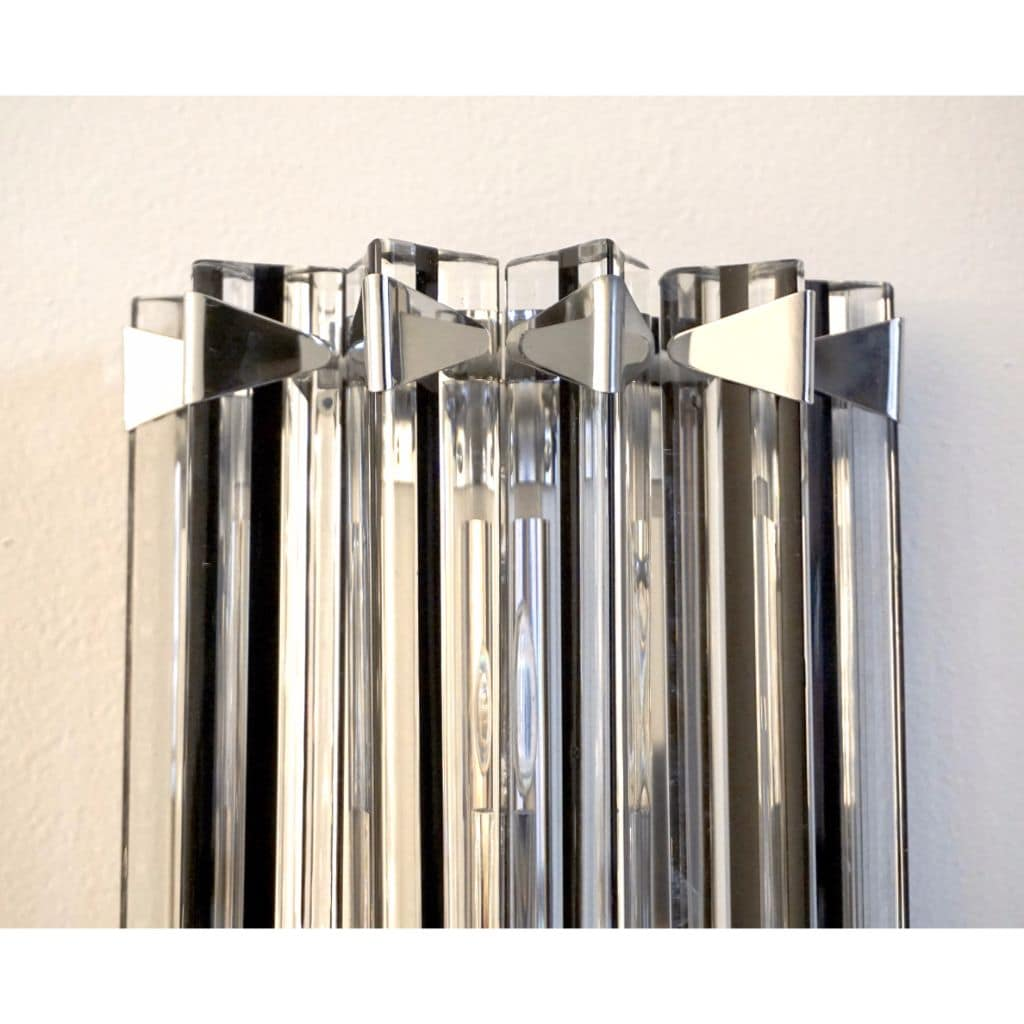 Italian Contemporary Pair of Nickel Crystal and Black Inset Murano Glass Sconces