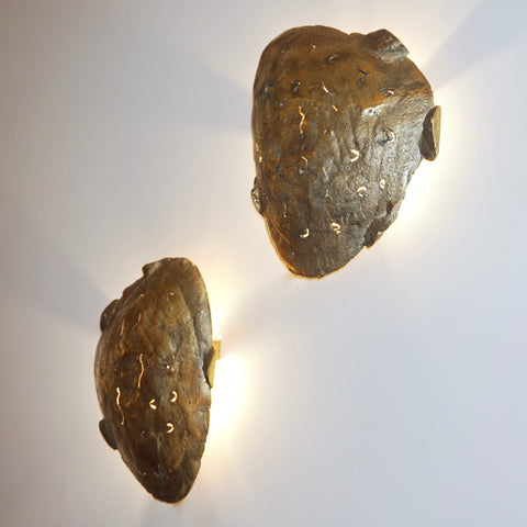 Italian Design Contemporary Pair of Brutalist Cast Bronze Sculpture Wall Lights