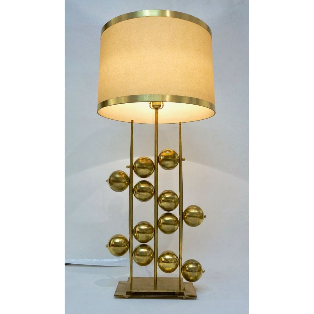Italian Contemporary Fine Design Pair of Organic Gold Brass Lamps with Spheres - Cosulich Interiors & Antiques