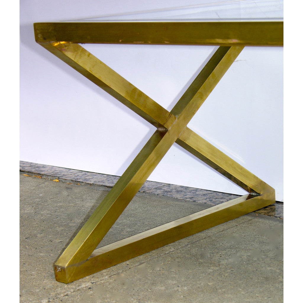 Italian Pair of X-Frame Handcrafted Brass and Glass Coffee/Side Tables - Cosulich Interiors & Antiques