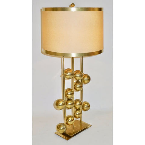 Italian Contemporary Fine Design Pair of Organic Gold Brass Lamps with Spheres