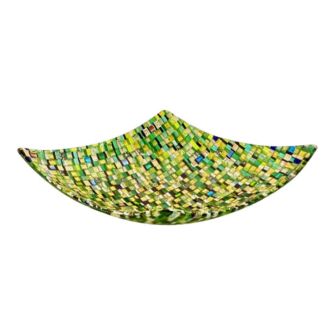 Modern Italian Jewel-Like Green Yellow & 24Kt Gold Murano Art Glass Mosaic Bowl