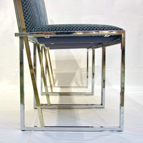 1970s Italian Six Brass And Chrome Modern Chairs, Blue And White Fabric