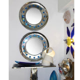 Contemporary Italian Modern Chromed Round Mirror with Jewel Like Blue Glass Spikes