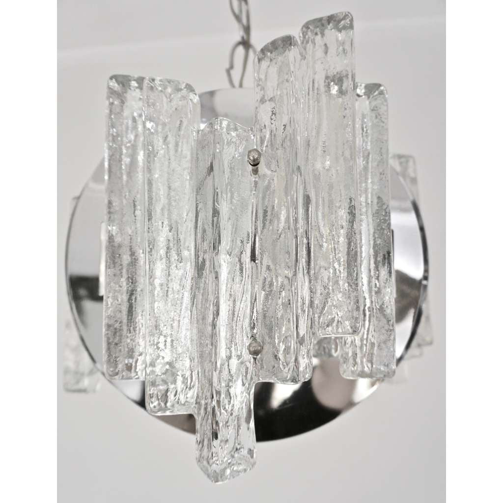 Salviati 1950 Italian Sculptural Modern Nickel Crystal Clear Glass Chandelier - Cosulich Interiors & Antiques