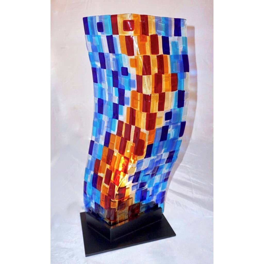 Contemporary Italian Aqua Blue Red Yellow Murano Glass Mosaic Sculpture Lamp - Cosulich Interiors & Antiques