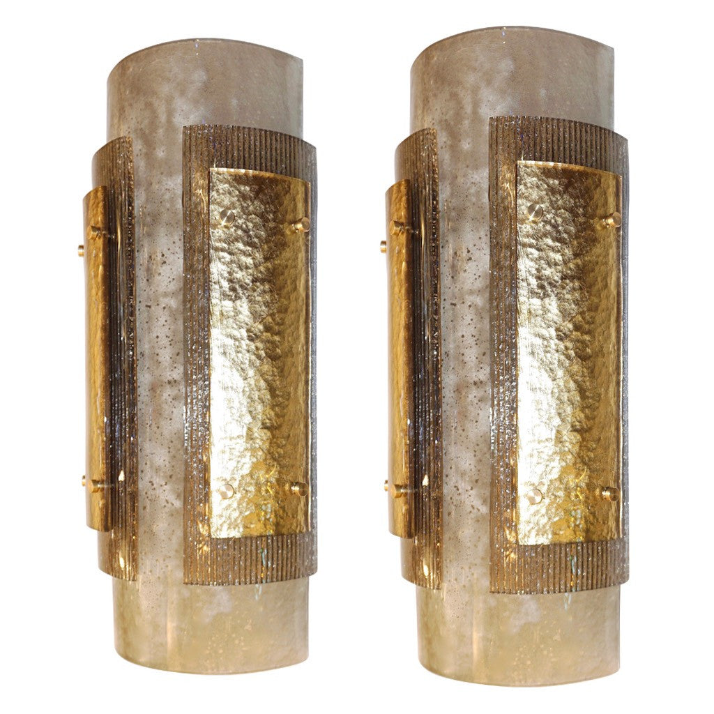 Italian Pair of Modern Gold, Smoked Gray and Frosted Ivory Murano Glass Sconces
