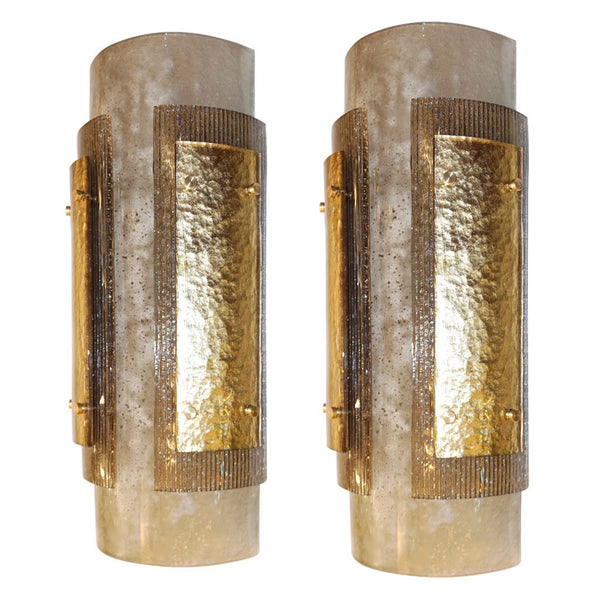 Italian Pair of Modern Gold, Smoked Gray and Frosted Ivory Murano Glass Sconces - Cosulich Interiors & Antiques